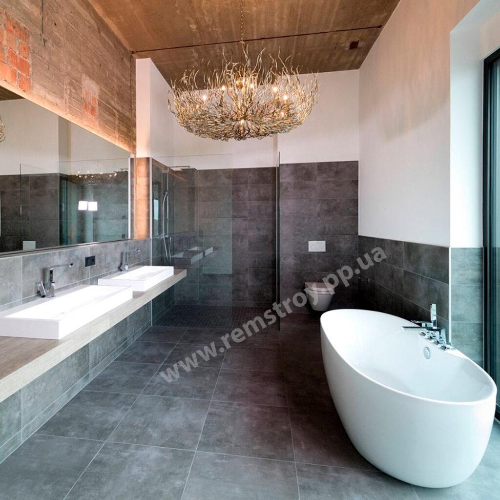 Индустриальный дизайн ванной комнаты в квартире